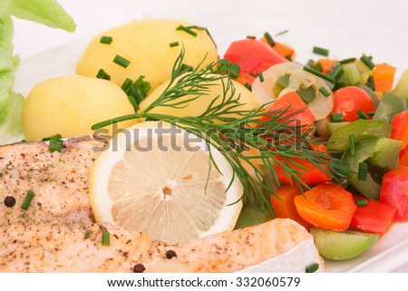 fresh salmon fillet with vegetables on white - stock photo