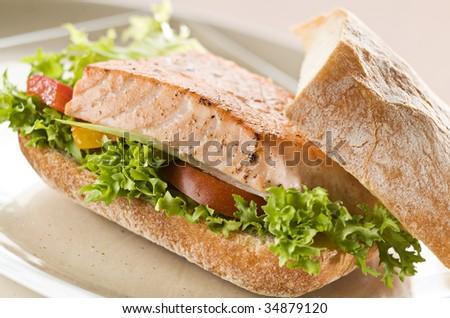 Fresh salmon sandwich with salad close up - stock photo