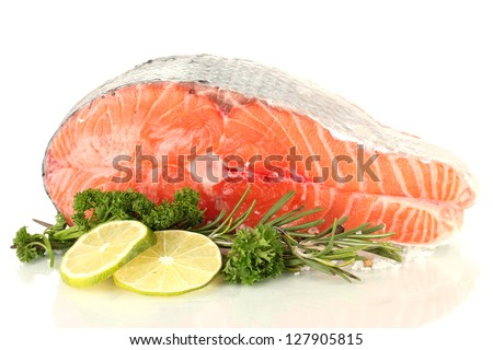 Fresh salmon steak, isolated on white - stock photo