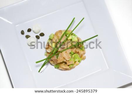 fresh salmon tartare - stock photo