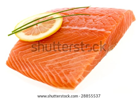 Fresh Salmon with Lemon - stock photo