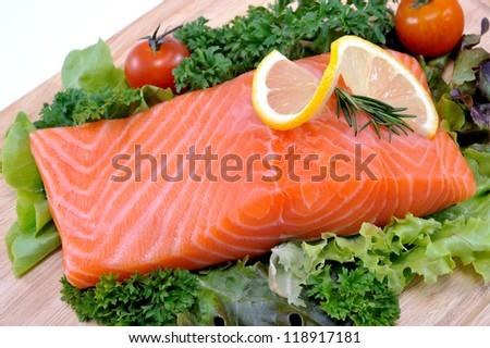 Fresh salmon with vegetables, - stock photo