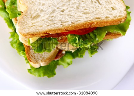 fresh sandvich with vegetables and tomatoe