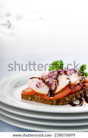 Fresh sandwich with chicken breast and balsamic