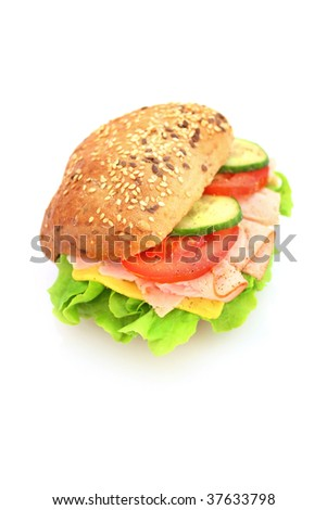 Fresh sandwich with ham and cheese and vegetables - stock photo