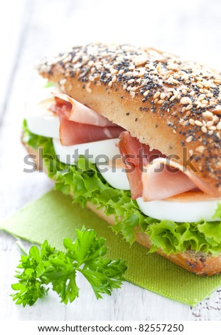 fresh sandwich with ham and egg - stock photo
