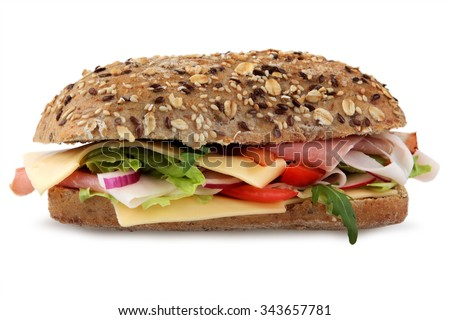 fresh sandwich with ham, cheese, tomatoes, red onion and lettuce. Isolated on white - stock photo