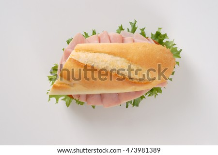 fresh sandwich with ham on white background