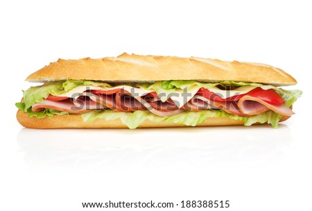Fresh sandwich with meat and vegetables. Isolated on white background - stock photo