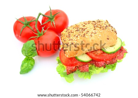 Fresh sandwich with salami cheese and vegetables - stock photo