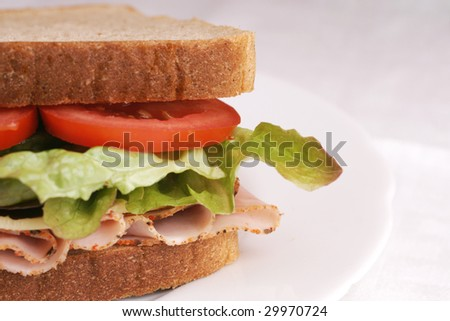 Fresh sandwich with tomatoes, lettuce, cheese and ham.