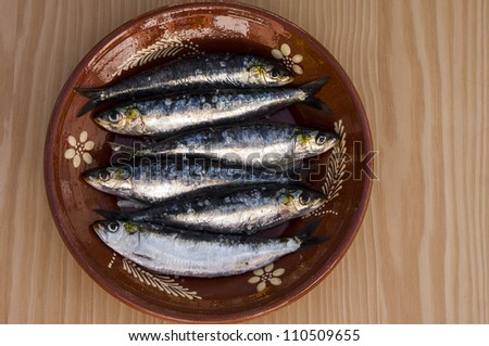 Fresh sardines in a great plate with amazing light