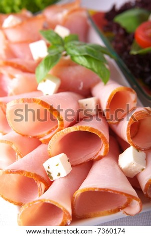 Fresh sausage on a plate - stock photo
