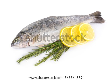 Fresh sea fish with lemon and rosemary isolated on white background