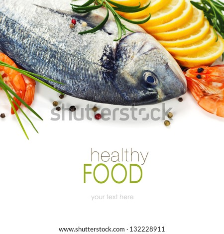 fresh seafood and vegetables over white (with easy removable sample text) - stock photo