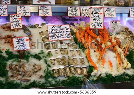 Fresh Seafood at Pike Place Market in Seattle, Washington - stock photo