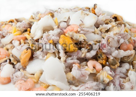 fresh seafood cocktail mix - stock photo