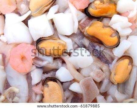 fresh seafood cocktail mix - stock photo