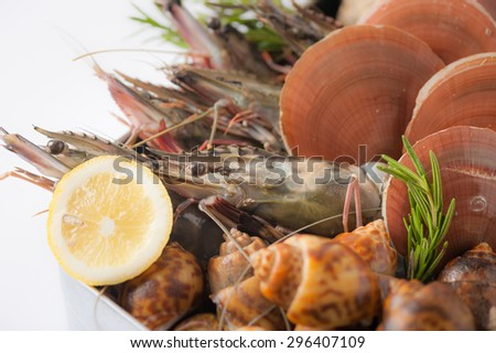 Fresh seafood set from gulf of Thailand in steel tray - stock photo