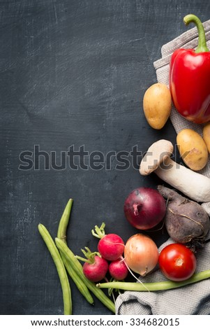 Fresh seasonal food cooking - stock photo