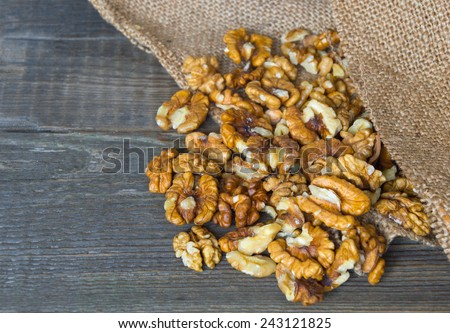 Fresh shelled walnuts from the bag - stock photo