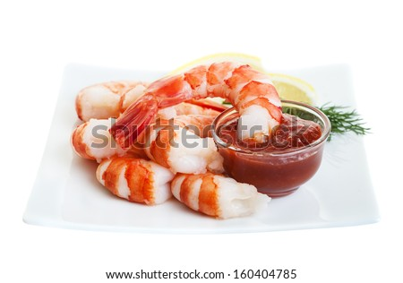 Fresh Shrimp Cocktail with red sauce - stock photo