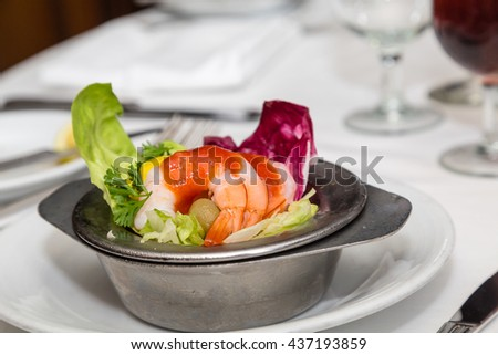 Fresh Shrimp Cocktail with Sauce on Butter Lettuce - stock photo