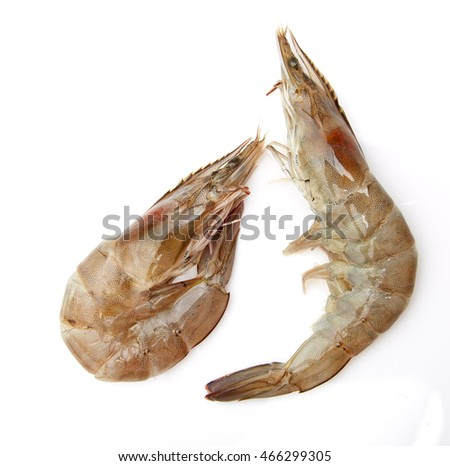 Fresh shrimp in thailand on a white background.