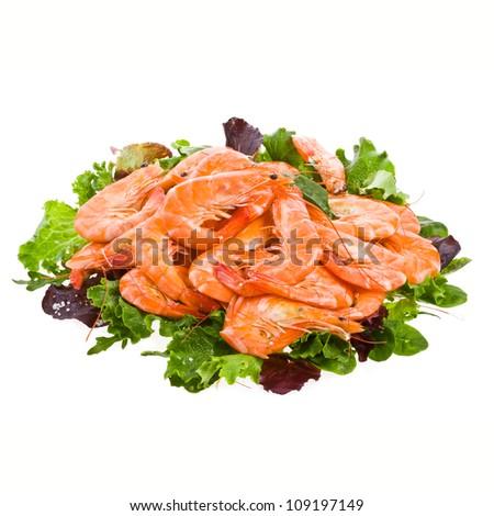 Fresh shrimp Prawns on a salad lettuce isolated on white background - stock photo