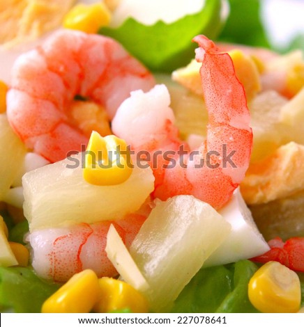 Fresh shrimp salad with pineapple.