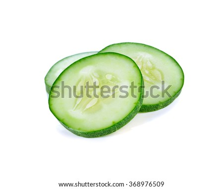 Fresh slice cucumber on a white background. - stock photo