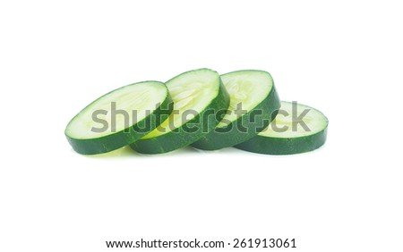 Fresh slice cucumber on white background.
