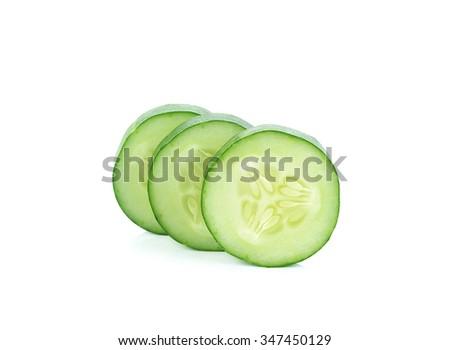Fresh slice cucumber on white background. - stock photo