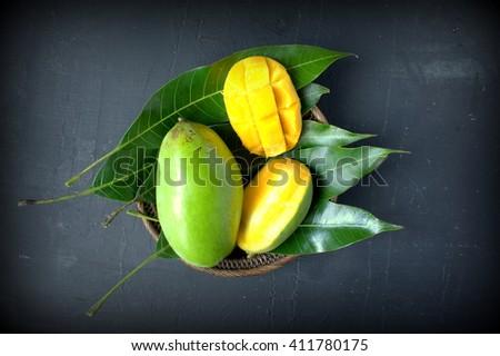 Fresh slice mango - stock photo