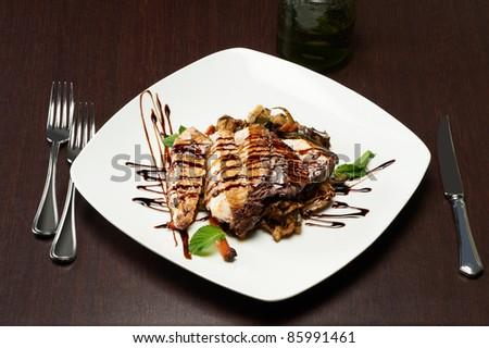 fresh slice of swordfish seasoned with vinegar - stock photo