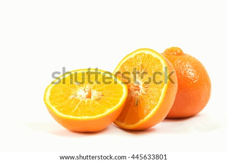 Fresh Slice Orange Isolated on White Background with Clipping Path