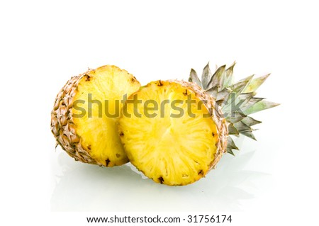 Fresh slice pineapple isolated on white background - stock photo