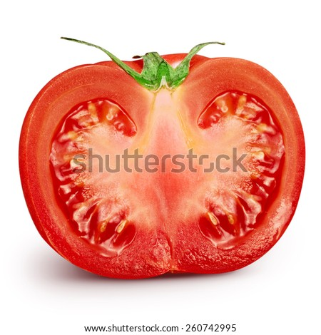 Fresh slice tomato on white background. Clipping Path