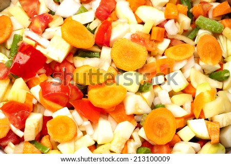 fresh sliced and chopped vegetables make a healthy produce background - stock photo