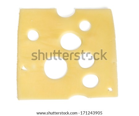 fresh sliced cheese isolated on white background