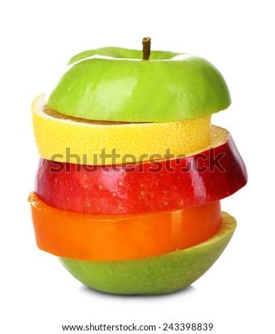 Fresh sliced fruit isolated on white - stock photo