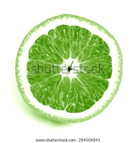 Fresh sliced orange close up - green - stock photo