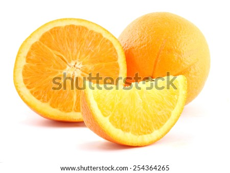 Fresh sliced oranges isolated over a white background. - stock photo