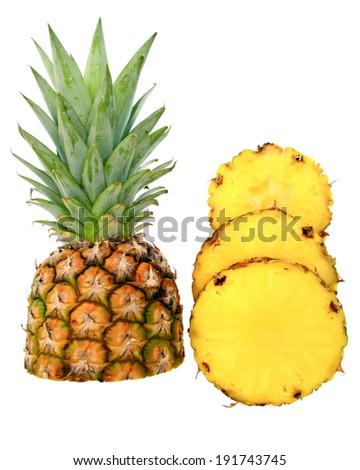 Fresh sliced pineapple isolated on white background - stock photo