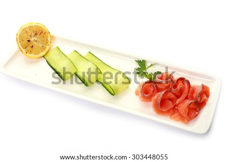 Fresh sliced salmon - stock photo