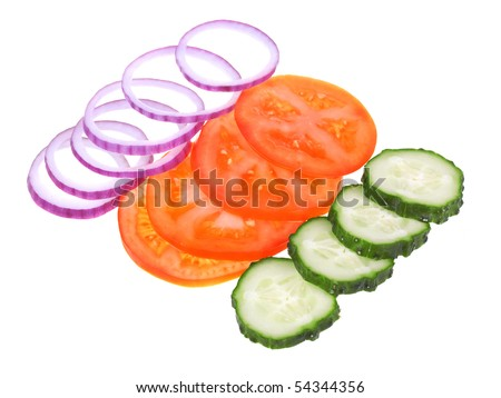 Fresh sliced vegetables isolated on white background