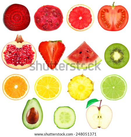 fresh slices of fruits and vegetables on a white background