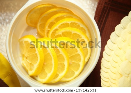 Fresh slices of lemon in a bowl