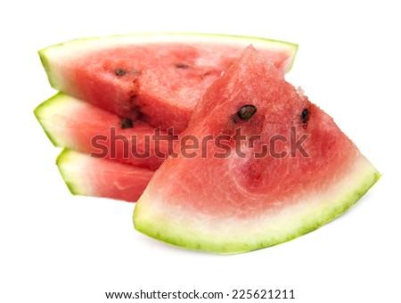 Fresh slices of watermelon on a white background