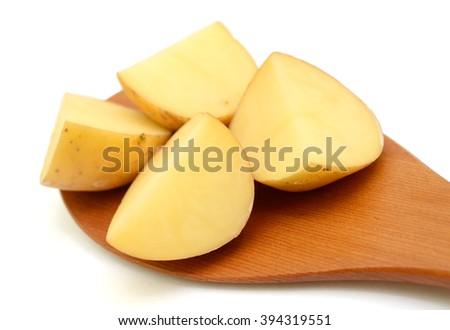 Fresh slices potatoe isolated on white background - stock photo